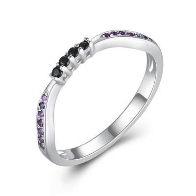 Round Cut Amethyst & Black Sapphire 925 Sterling Silver Women's Wedding Bands