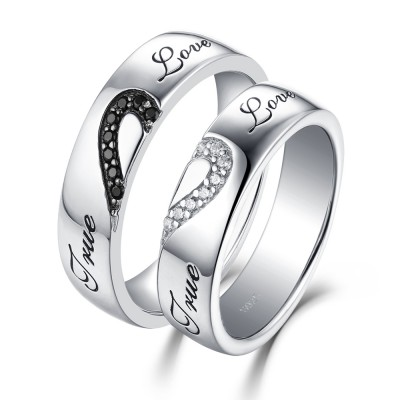 True Love White and Black Sapphire s925 Silver Couple Rings