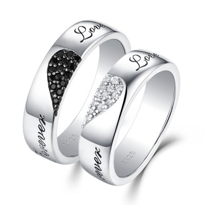 """Forever Love"" Hearts Together White and Black Sapphire s925 Silver Couple Rings"