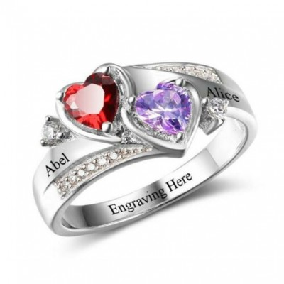 Engraved Birthstone Heart Cut 925 Sterling Silver Personalized Ring