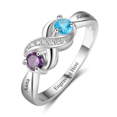 Infinity Round Cut 925 Sterling Silver Engraved Personalized Birthstone Ring