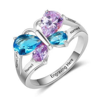 Butterfly Engraved Pear Cut 925 Sterling Silver Personalized Birthstone Ring