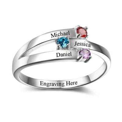 Round Cut 925 Sterling Silver Engraved Personalized Birthstone Ring