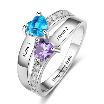 Birthstone Heart Cut 925 Sterling Silver Personalized Engraved Ring