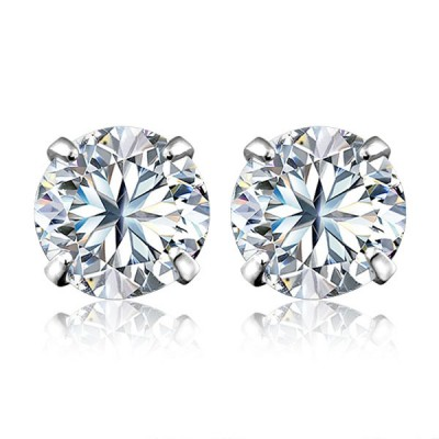 8mm Created White Sapphire Sterling Silver Stud Earrings