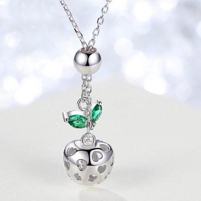 Heart Hollow Apple Shape Sterling Silver Necklace