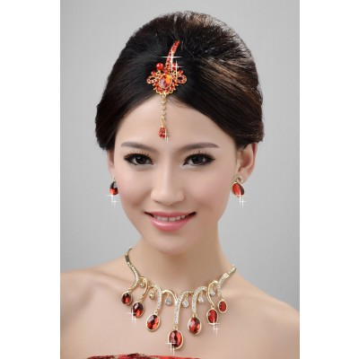 New Style Beautiful Alloy Crystals Pearls Wedding Headpieces Necklaces Earrings Set