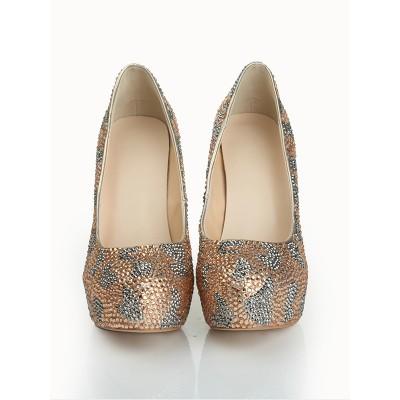 Women's Stiletto Heel Sheepskin Closed Toe Platform With Rhinestone Platforms Shoes