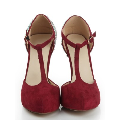 Women's Suede Stiletto Heel Closed Toe Platform With Rhinestone Platforms Shoes