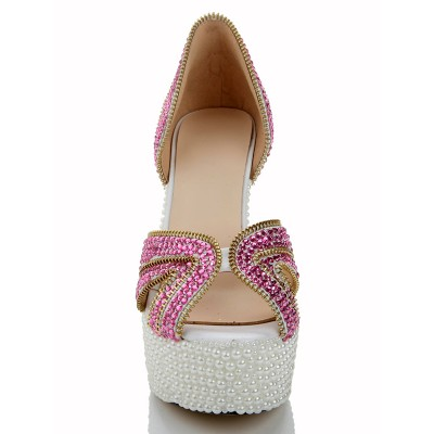 Women's Peep Toe Cone Heel Sheepskin Platform With Zipper Platforms Shoes