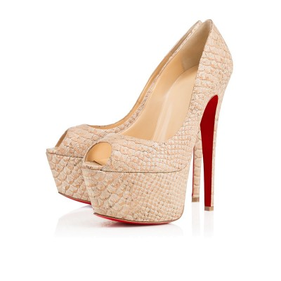 Women's PU Peep Toe Stiletto Heel Platform High Heels