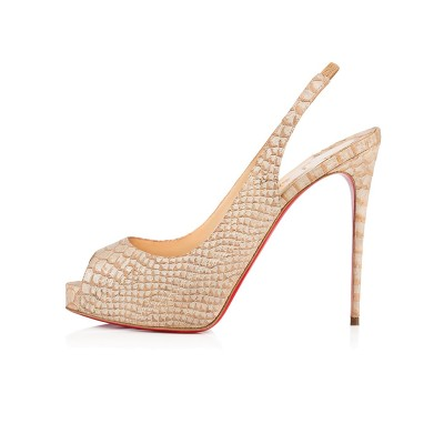 Women's Peep Toe PU Stiletto Heel Platform Champagne Sandals Shoes