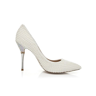 Women's Patent Leather Stiletto Heel Closed Toe With Pearl High Heels