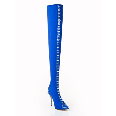 Women's Stiletto Heel Elastic Leather With Rhinestone Over The Knee Blue Boots