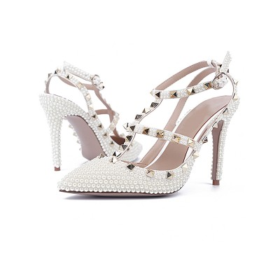 Women's Patent Leather Stiletto Heel Closed Toe With Rivet Sandals Shoes
