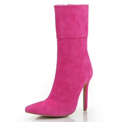 Women's Stiletto Heel Closed Toe Suede With Zipper Mid-Calf Fuchsia Boots