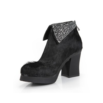 Women's Horsehair Chunky Heel Platform Closed Toe With Rhinestone Ankle Black Boots