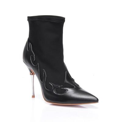 Women's Stiletto Heel Sheepskin Closed Toe Ankle Black Boots