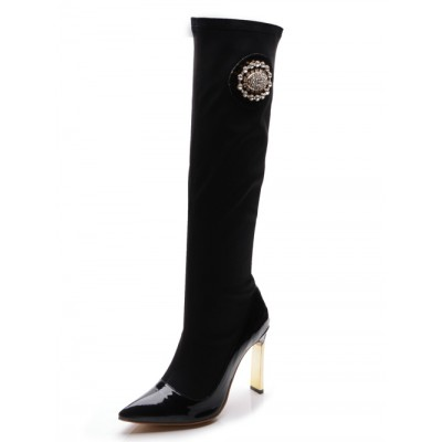 Women's Elastic Fabric Closed Toe Stiletto Heel With Rhinestone Knee High Black Boots