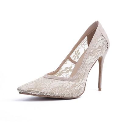 Women's Closed Toe Lace Stiletto Heel High Heels