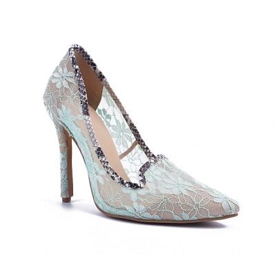 Women's Stiletto Heel Lace Closed Toe High Heels