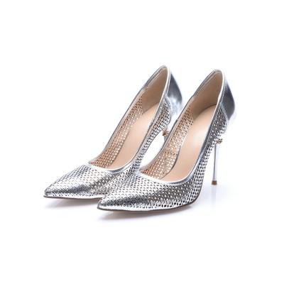Women's Silver Patent Leather Closed Toe Stiletto Heel High Heels