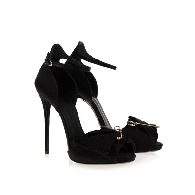 Women's Satin Peep Toe Stiletto Heel With Buckle Sandals Shoes