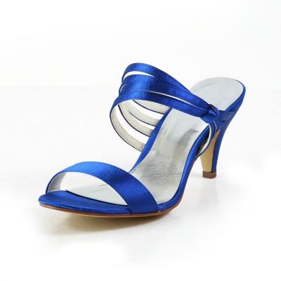 Women's Satin Cone Heel Peep Toe Pumps Sandals Shoes