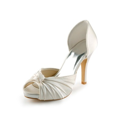 Women's Satin Stiletto Heel Peep Toe Platform Pumps White Wedding Shoes With Bowknot