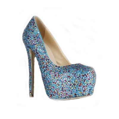 Women's Sheepskin Stiletto Heel Closed Toe Platform With Rhinestone High Heels