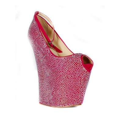 Women's Flock Wedge Heel Peep Toe Platform With Rhinestone Wedges Shoes