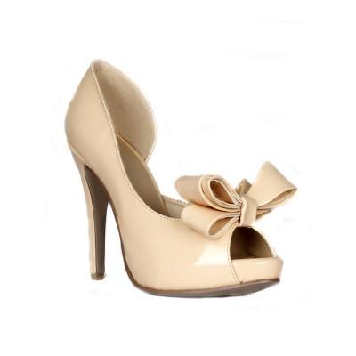 Women's Stiletto Heel Patent Leather Peep Toe Platform With Bowknot High Heels