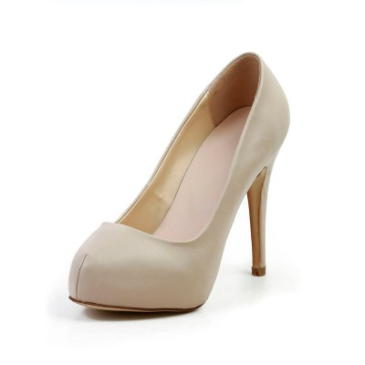 Women's Stiletto Heel Sheepskin Closed Toe Platform Platforms Shoes