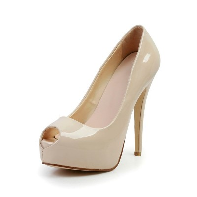 Women's Stiletto Heel Patent Leather Peep Toe Platform High Heels