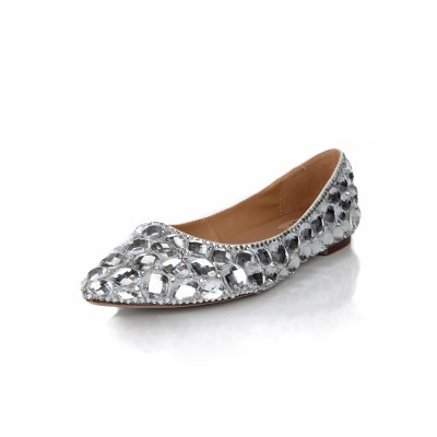 Women's Flat Heel Closed Toe Sheepskin With Rhinestone Flat Shoes