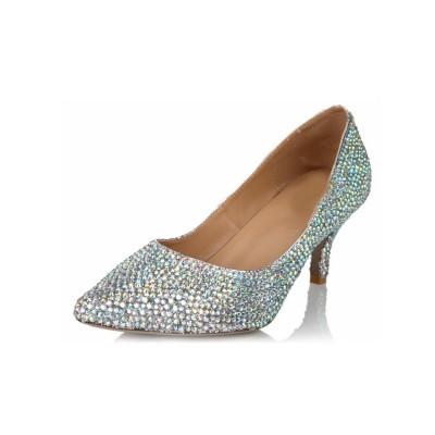 Women's Sheepskin Cone Heel Closed Toe Rhinestone Wedding Shoes