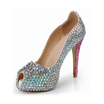 Women's Peep Toe Patent Leather Stiletto Heel Platform With Rhinestone Platforms Shoes