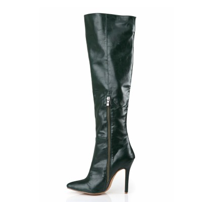 Women's Cattlehide Leather Stiletto Heel Closed Toe Knee High Hunter Green Boots