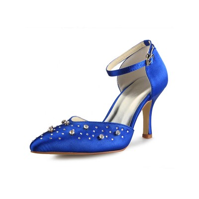 Women's Satin Cone Heel Mary Jane Closed Toe With Rhinestone High Heels