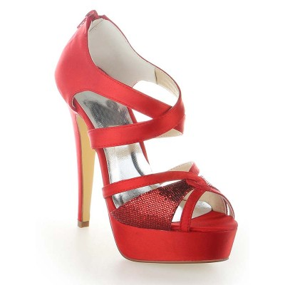 Women's Satin Platform Peep Toe With Zipper Cone Heel Platforms Shoes