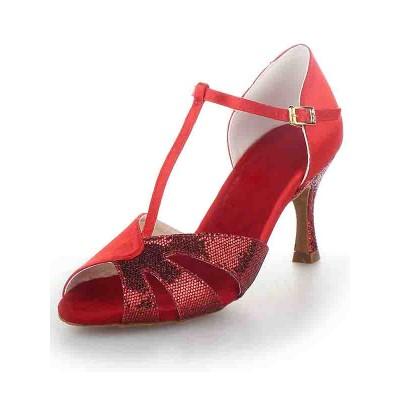 Women's T-Strap Peep Toe Stiletto Heel Satin Sparkling Glitter Dance Shoes