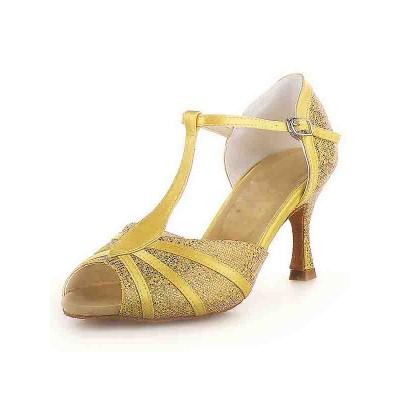 Women's Peep Toe Stiletto Heel Satin Buckle Sparkling Glitter Dance Shoes