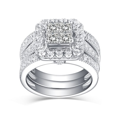 Women's Princess Cut White Sapphire 925 Sterling Silver Bridal Sets