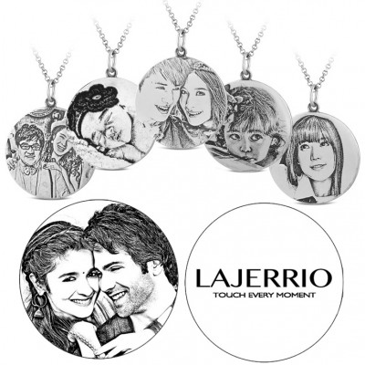 S925 Round Personalized Photo Engraved Necklace (Chains Not Included)