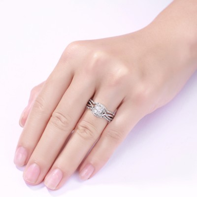 Princess Cut S925 Silver White Sapphire 3 Piece Halo Ring Sets