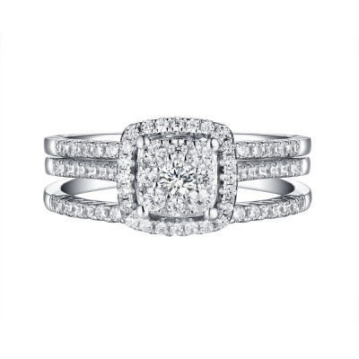 Round Cut White Sapphire 925 Sterling Silver 3 Piece Halo Ring Sets