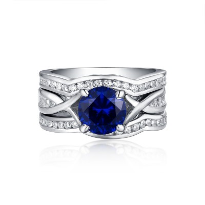 Round Cut Sapphire & White Sapphire S925 Silver 3 Piece Ring Sets