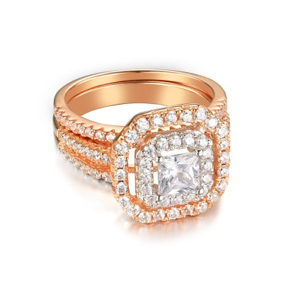 Rose Gold 925 Sterling Silver Princess Cut 1-1/2CT Gemstone Bridal Ring Sets