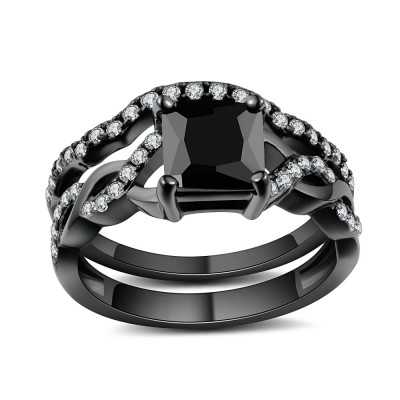 1/2 CT Princess Cut Black Gemstone Black 925 Sterling Silver Bridal Ring Sets