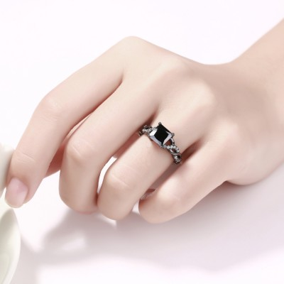 Princess Cut Black Sapphire Black Sterling Silver Engagement Rings